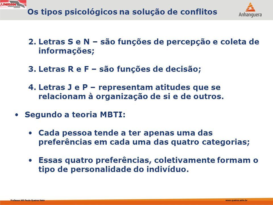 2.Letras S e N – são funções de percepção e coleta de informações; 3.Letras R e F – são funções de decisão; 4.Letras J e P – representam atitudes que se relacionam à organização de si e de outros.