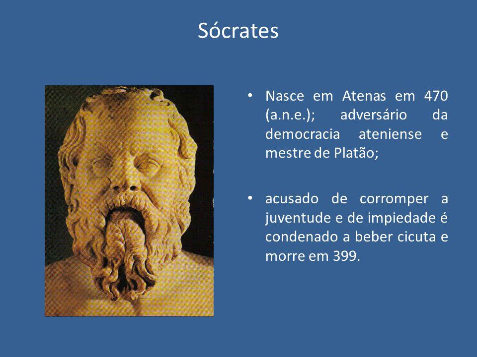 Sócrates Nasce em Atenas em 470 (a.n.e.); adversário da democracia ateniense e mestre de Platão; acusado de corromper a juventude e de impiedade é con