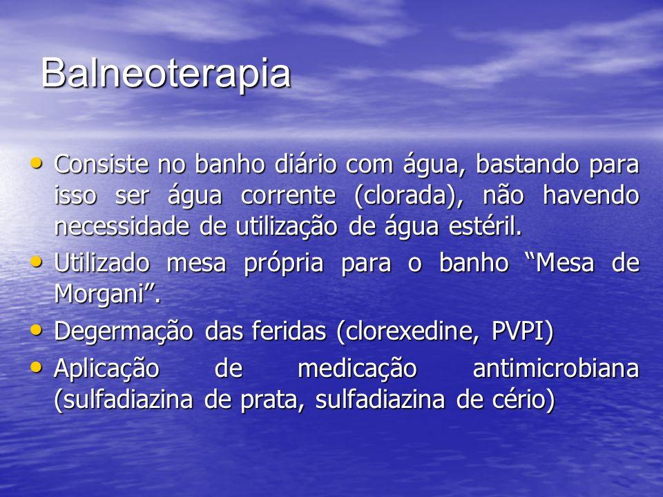 Balneoterapia Consiste no banho diário com água, bastando para isso ser água corrente (clorada), não havendo necessidade de utilização de água estéril