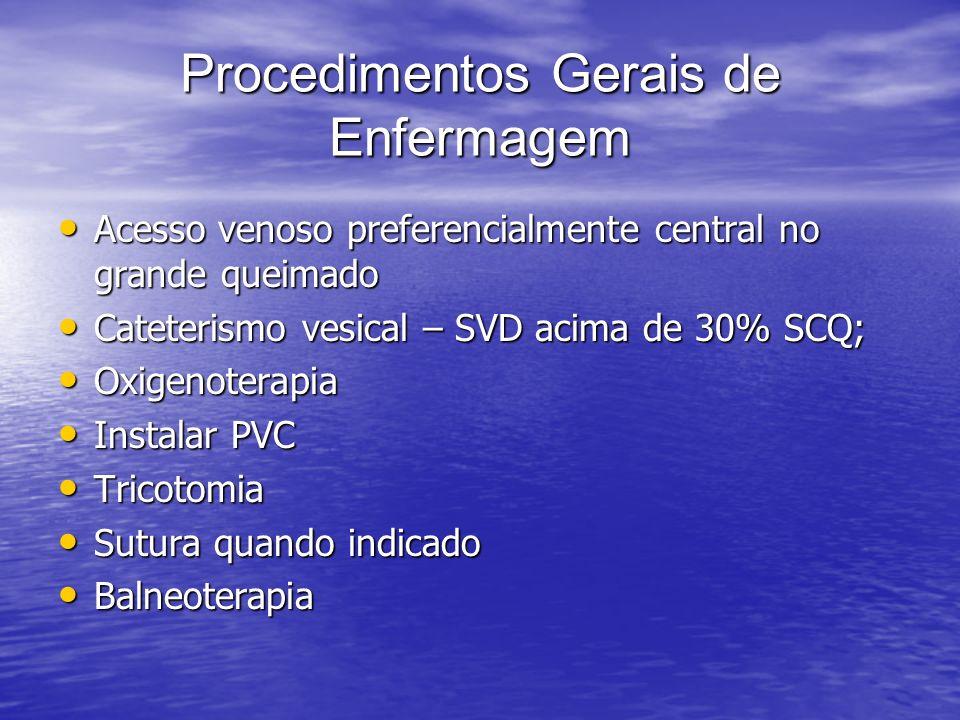 Procedimentos Gerais de Enfermagem Acesso venoso preferencialmente central no grande queimado Acesso venoso preferencialmente central no grande queima