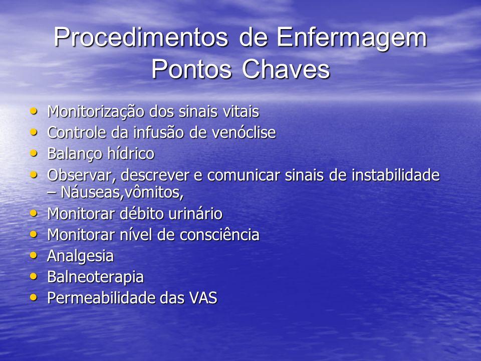 Procedimentos de Enfermagem Pontos Chaves Monitorização dos sinais vitais Monitorização dos sinais vitais Controle da infusão de venóclise Controle da