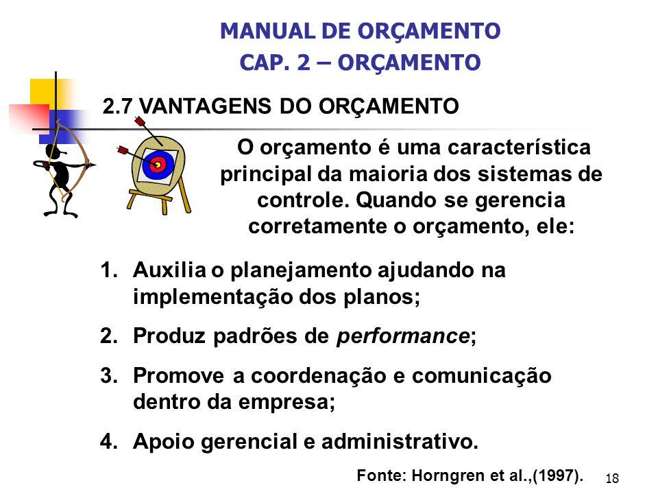 18 O orçamento é uma característica principal da maioria dos sistemas de controle. Quando se gerencia corretamente o orçamento, ele: 1.Auxilia o plane