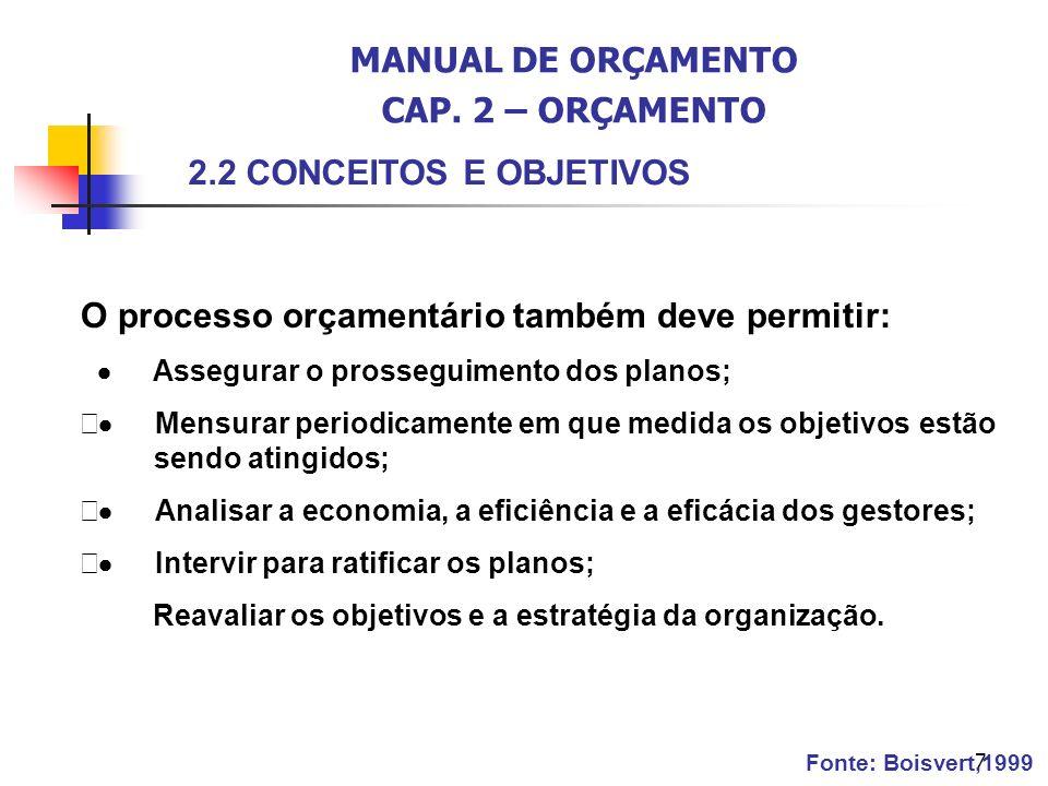 7 O processo orçamentário também deve permitir: Assegurar o prosseguimento dos planos; Mensurar periodicamente em que medida os objetivos estão sendo