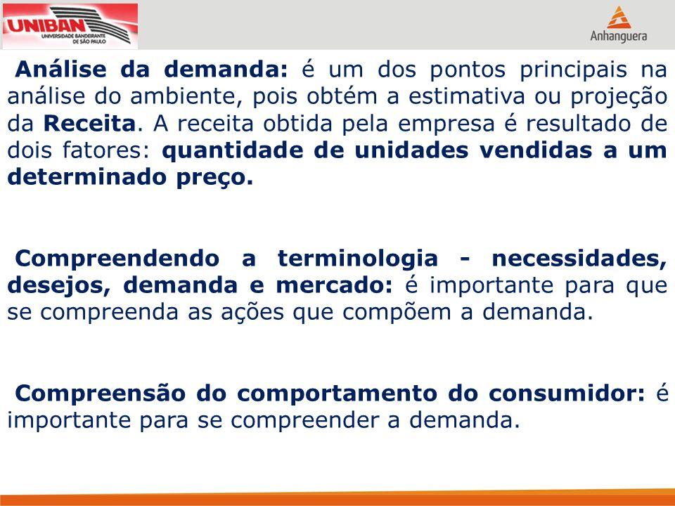 Análise da demanda: é um dos pontos principais na análise do ambiente, pois obtém a estimativa ou projeção da Receita. A receita obtida pela empresa é