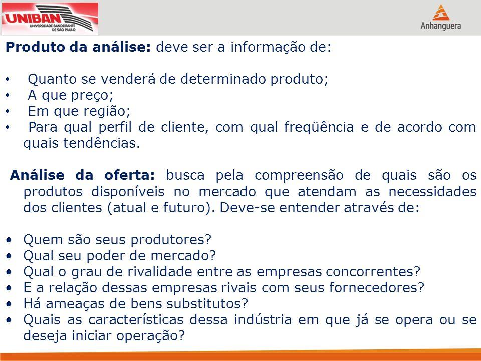 Produto da análise: deve ser a informação de: Quanto se venderá de determinado produto; A que preço; Em que região; Para qual perfil de cliente, com q