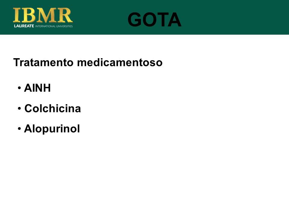 Tratamento medicamentoso AINH Colchicina Alopurinol GOTA