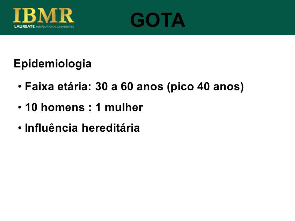 Epidemiologia GOTA Faixa etária: 30 a 60 anos (pico 40 anos) 10 homens : 1 mulher Influência hereditária