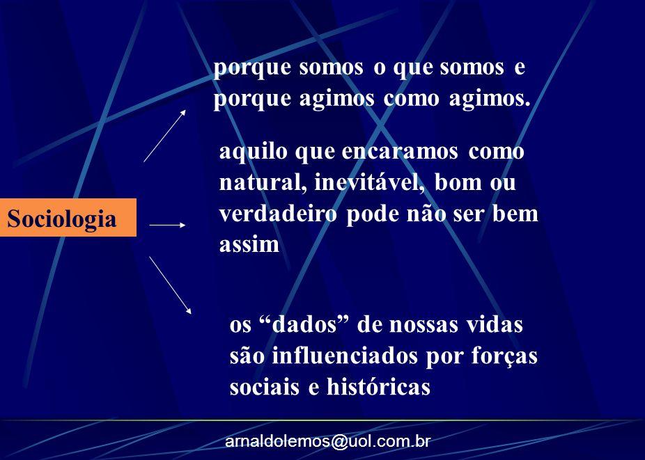 arnaldolemos@uol.com.br porque somos o que somos e porque agimos como agimos. Sociologia aquilo que encaramos como natural, inevitável, bom ou verdade