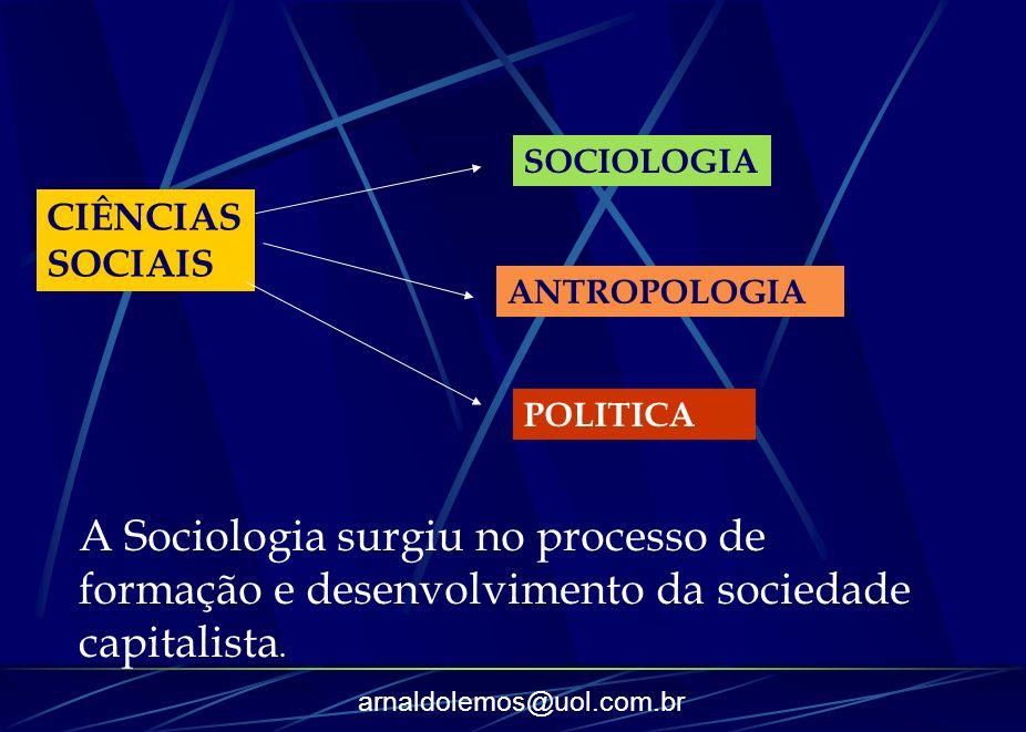 arnaldolemos@uol.com.br CIÊNCIAS SOCIAIS SOCIOLOGIA ANTROPOLOGIA POLITICA A Sociologia surgiu no processo de formação e desenvolvimento da sociedade c