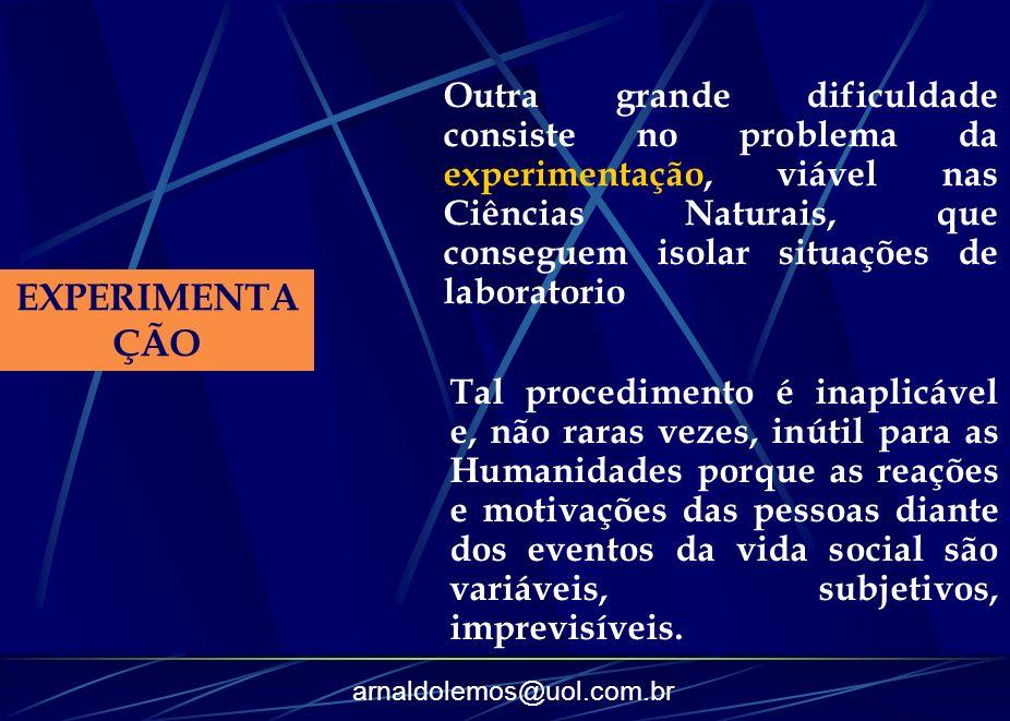 arnaldolemos@uol.com.br EXPERIMENTA ÇÃO Outra grande dificuldade consiste no problema da experimentação, viável nas Ciências Naturais, que conseguem i