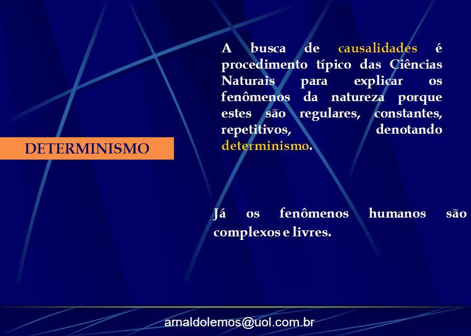 arnaldolemos@uol.com.br DETERMINISMO A busca de causalidades é procedimento típico das Ciências Naturais para explicar os fenômenos da natureza porque