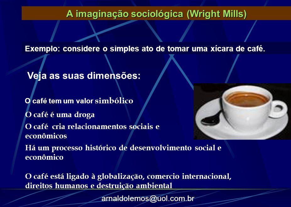arnaldolemos@uol.com.br Exemplo: considere o simples ato de tomar uma xícara de café. A imaginação sociológica (Wright Mills) O café tem um valor simb