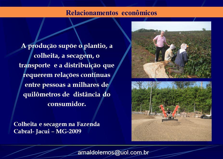 arnaldolemos@uol.com.br Relacionamentos econômicos A produção supõe o plantio, a colheita, a secagem, o transporte e a distribuição que requerem relaç