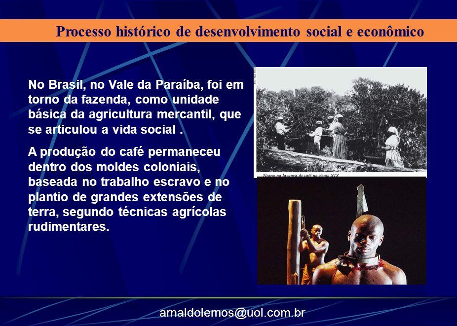 arnaldolemos@uol.com.br Processo histórico de desenvolvimento social e econômico No Brasil, no Vale da Paraíba, foi em torno da fazenda, como unidade