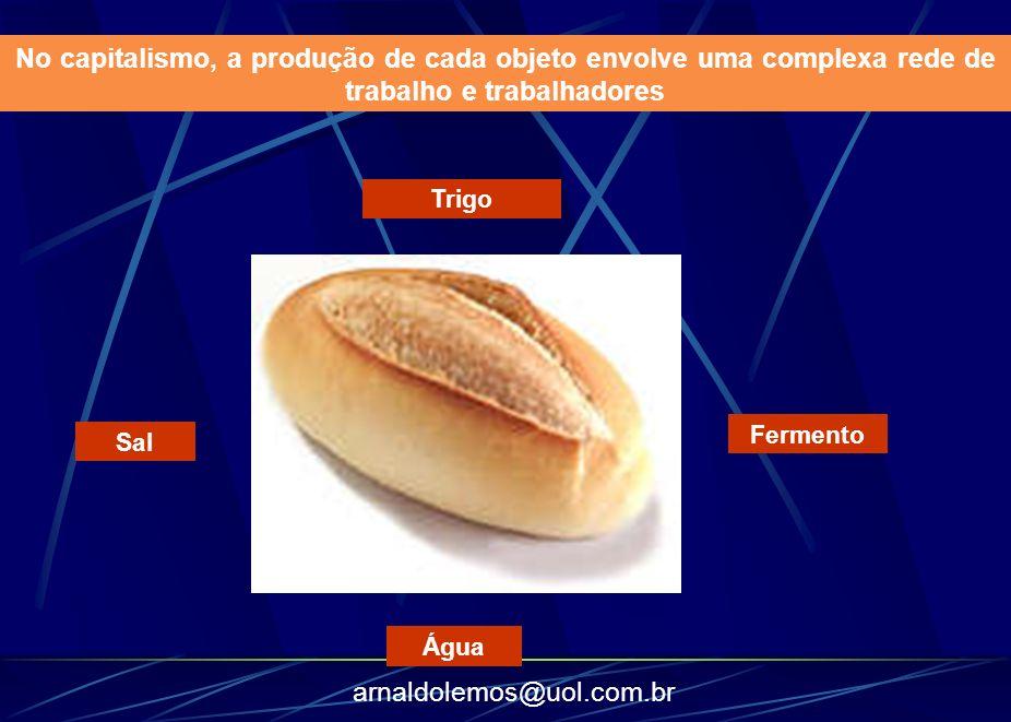 arnaldolemos@uol.com.br Trigo Sal Água Fermento No capitalismo, a produção de cada objeto envolve uma complexa rede de trabalho e trabalhadores