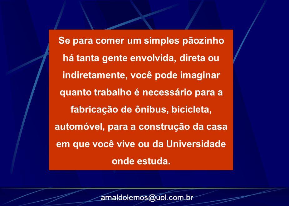 arnaldolemos@uol.com.br Se para comer um simples pãozinho há tanta gente envolvida, direta ou indiretamente, você pode imaginar quanto trabalho é nece