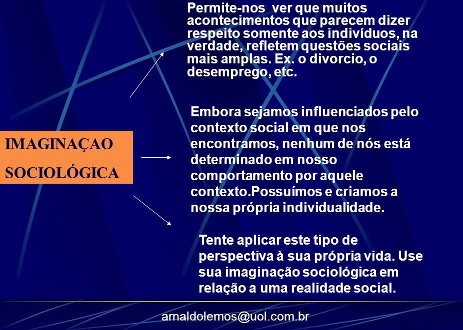 arnaldolemos@uol.com.br IMAGINAÇAO SOCIOLÓGICA Permite-nos ver que muitos acontecimentos que parecem dizer respeito somente aos indivíduos, na verdade