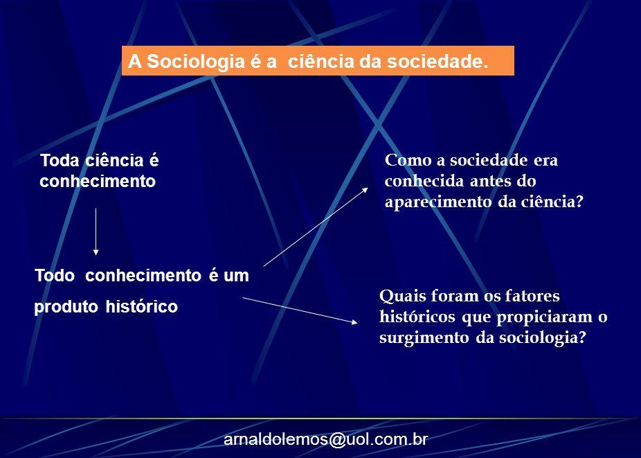 arnaldolemos@uol.com.br Como a sociedade era conhecida antes do aparecimento da ciência? A Sociologia é a ciência da sociedade. Toda ciência é conheci