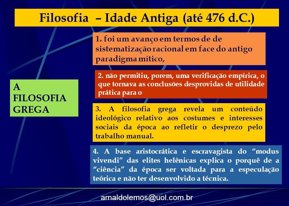 arnaldolemos@uol.com.br Filosofia – Idade Antiga (até 476 d.C.) A FILOSOFIA GREGA 1. foi um avanço em termos de de sistematização racional em face do
