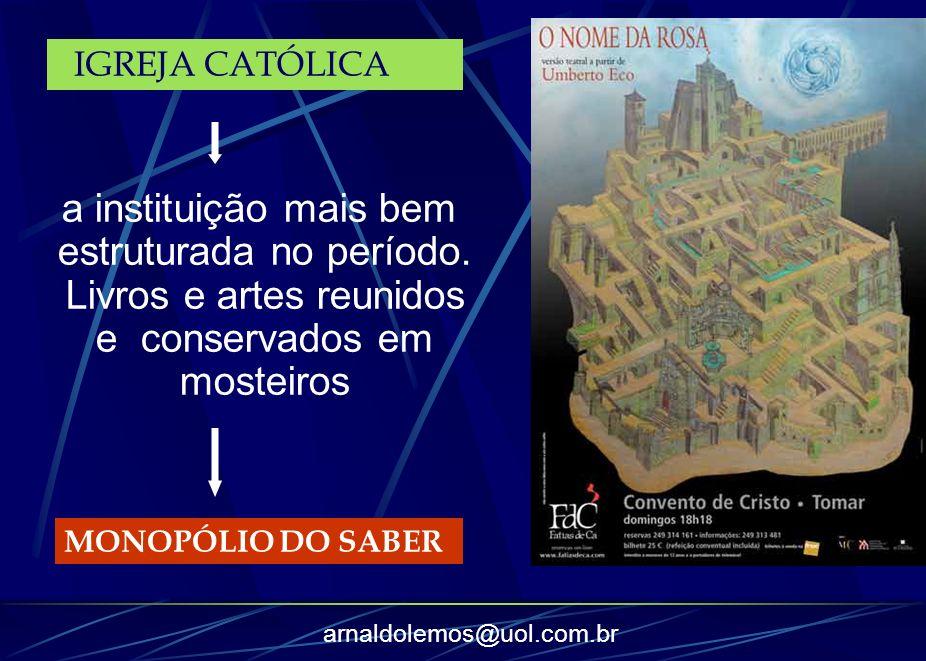 arnaldolemos@uol.com.br a instituição mais bem estruturada no período. Livros e artes reunidos e conservados em mosteiros MONOPÓLIO DO SABER IGREJA CA