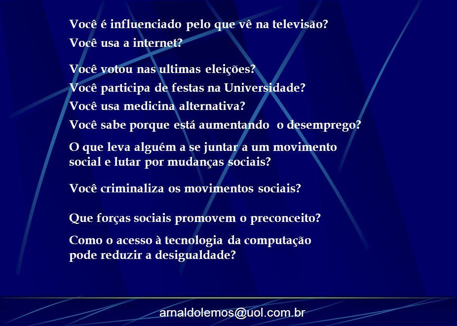 arnaldolemos@uol.com.br Você é influenciado pelo que vê na televisão? Você usa a internet? Você votou nas ultimas eleições? Você participa de festas n