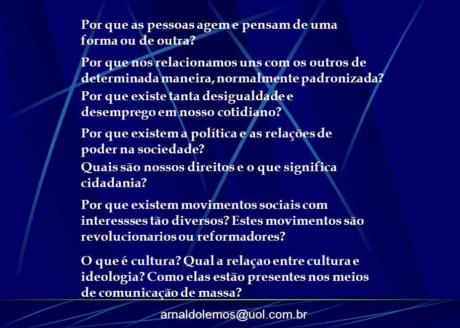 arnaldolemos@uol.com.br Por que as pessoas agem e pensam de uma forma ou de outra? Por que nos relacionamos uns com os outros de determinada maneira,