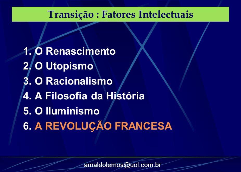 arnaldolemos@uol.com.br Transição : Fatores Intelectuais 1. O Renascimento 2. O Utopismo 3. O Racionalismo 4. A Filosofia da História 5. O Iluminismo