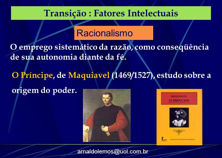 arnaldolemos@uol.com.br Transição : Fatores Intelectuais O emprego sistemático da razão, como conseqüência de sua autonomia diante da fé. O Príncipe,