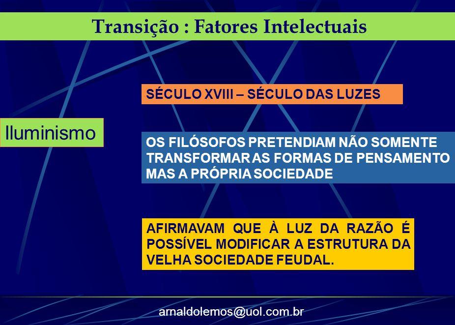 arnaldolemos@uol.com.br Transição : Fatores Intelectuais Iluminismo SÉCULO XVIII – SÉCULO DAS LUZES OS FILÓSOFOS PRETENDIAM NÃO SOMENTE TRANSFORMAR AS