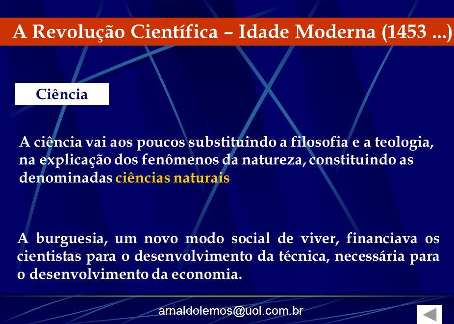 arnaldolemos@uol.com.br A Revolução Científica – Idade Moderna (1453...) A burguesia, um novo modo social de viver, financiava os cientistas para o de