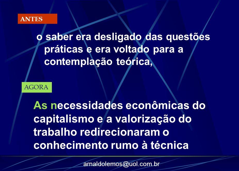 arnaldolemos@uol.com.br o saber era desligado das questões práticas e era voltado para a contemplação teórica, ANTES AGORA As necessidades econômicas
