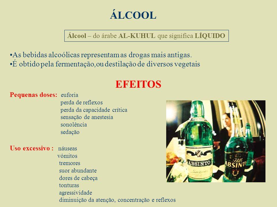 ÁLCOOL Álcool – do árabe AL-KUHUL que significa LÍQUIDO As bebidas alcoólicas representam as drogas mais antigas.
