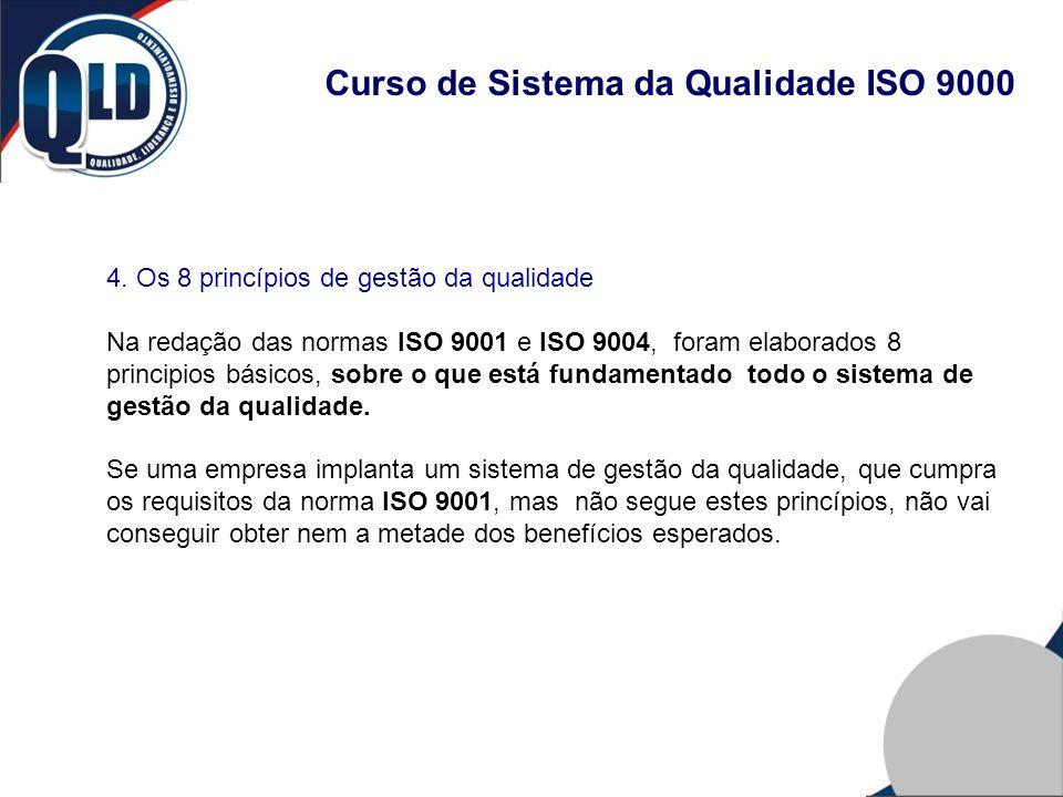 Curso de Sistema da Qualidade ISO 9000 4. Os 8 princípios de gestão da qualidade Na redação das normas ISO 9001 e ISO 9004, foram elaborados 8 princip