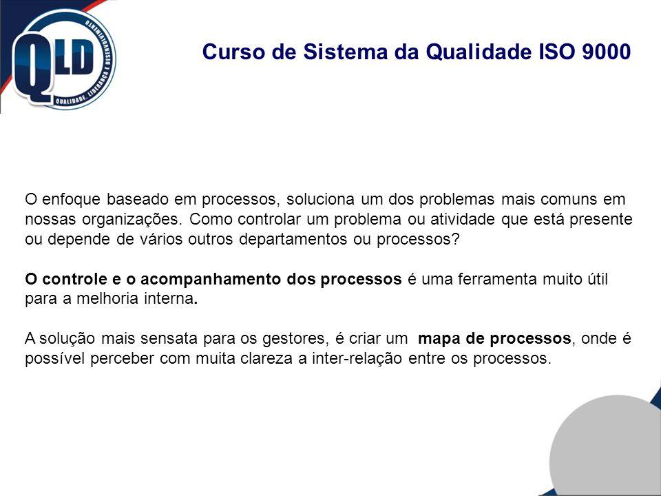 Curso de Sistema da Qualidade ISO 9000 O enfoque baseado em processos, soluciona um dos problemas mais comuns em nossas organizações. Como controlar u
