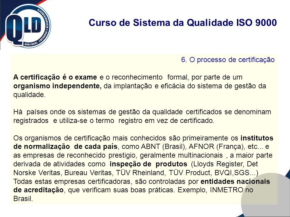 Curso de Sistema da Qualidade ISO 9000 6. O processo de certificação A certificação é o exame e o reconhecimento formal, por parte de um organismo ind