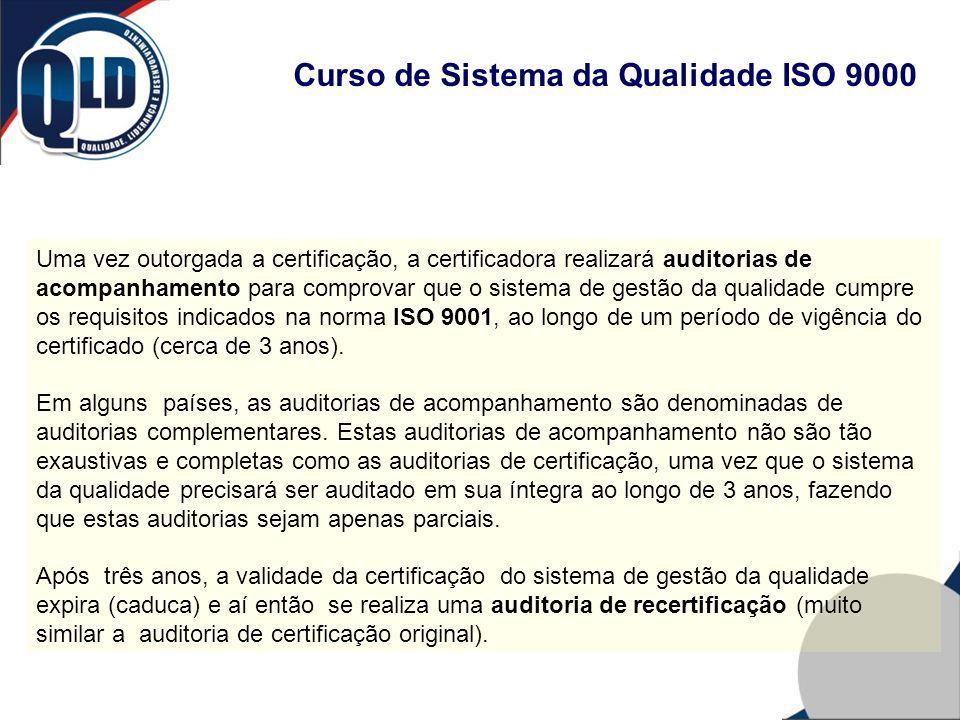 Curso de Sistema da Qualidade ISO 9000 Uma vez outorgada a certificação, a certificadora realizará auditorias de acompanhamento para comprovar que o s