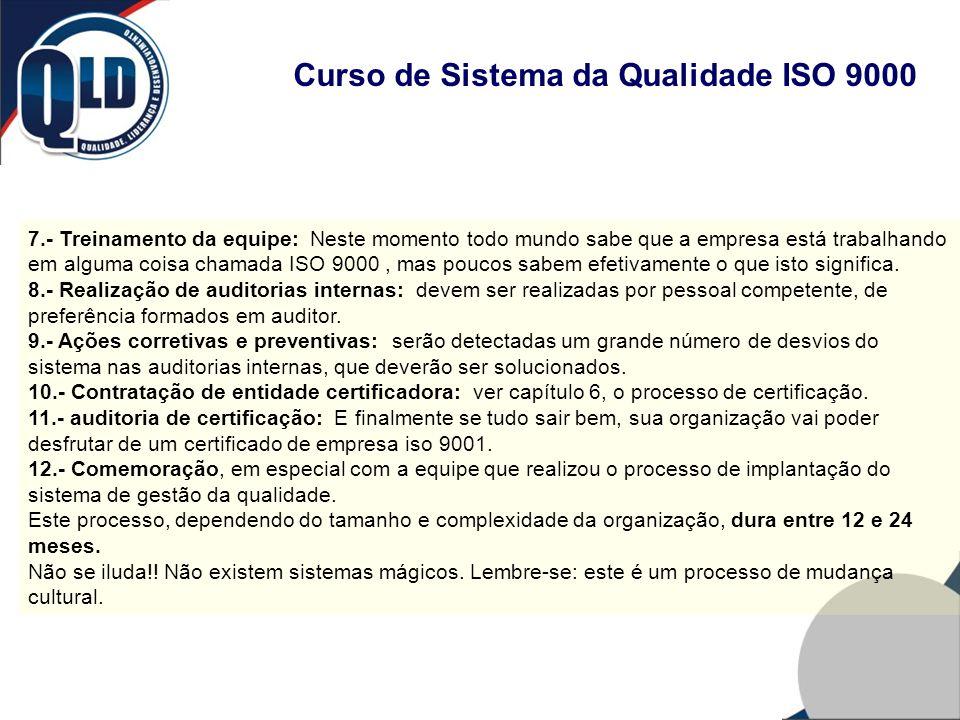 Curso de Sistema da Qualidade ISO 9000 7.- Treinamento da equipe: Neste momento todo mundo sabe que a empresa está trabalhando em alguma coisa chamada
