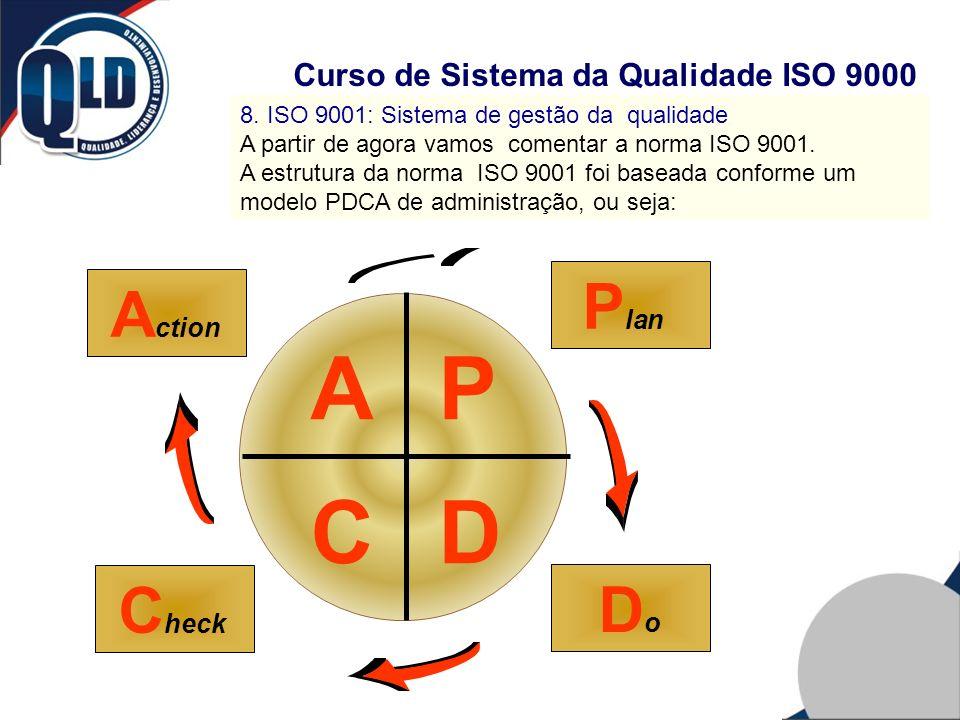 Curso de Sistema da Qualidade ISO 9000 8. ISO 9001: Sistema de gestão da qualidade A partir de agora vamos comentar a norma ISO 9001. A estrutura da n