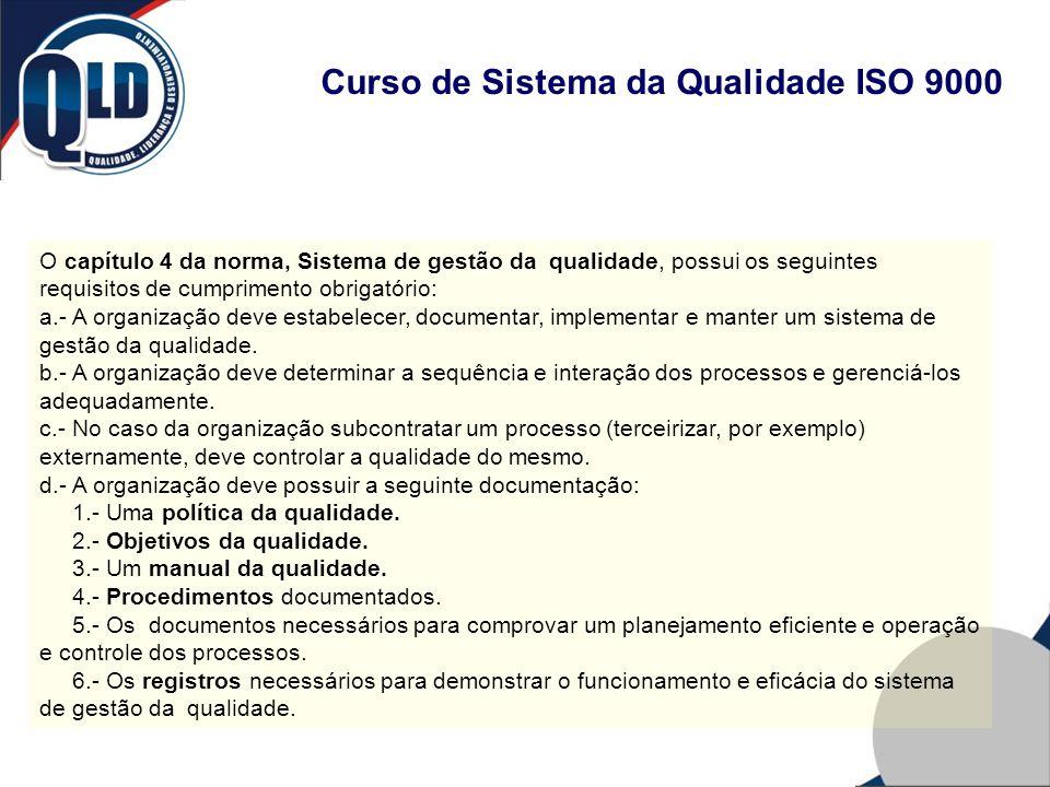 Curso de Sistema da Qualidade ISO 9000 O capítulo 4 da norma, Sistema de gestão da qualidade, possui os seguintes requisitos de cumprimento obrigatóri