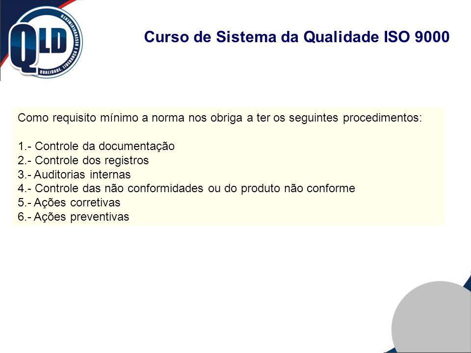 Curso de Sistema da Qualidade ISO 9000 Como requisito mínimo a norma nos obriga a ter os seguintes procedimentos: 1.- Controle da documentação 2.- Con