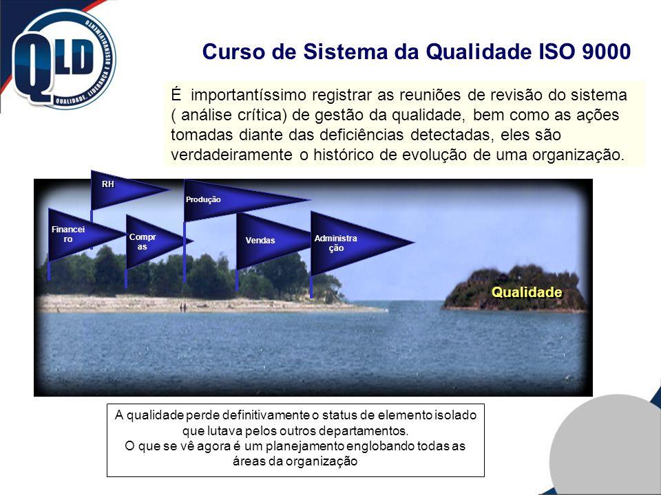 Curso de Sistema da Qualidade ISO 9000 É importantíssimo registrar as reuniões de revisão do sistema ( análise crítica) de gestão da qualidade, bem co