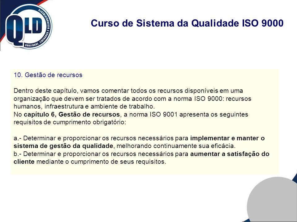 Curso de Sistema da Qualidade ISO 9000 10. Gestão de recursos Dentro deste capítulo, vamos comentar todos os recursos disponíveis em uma organização q