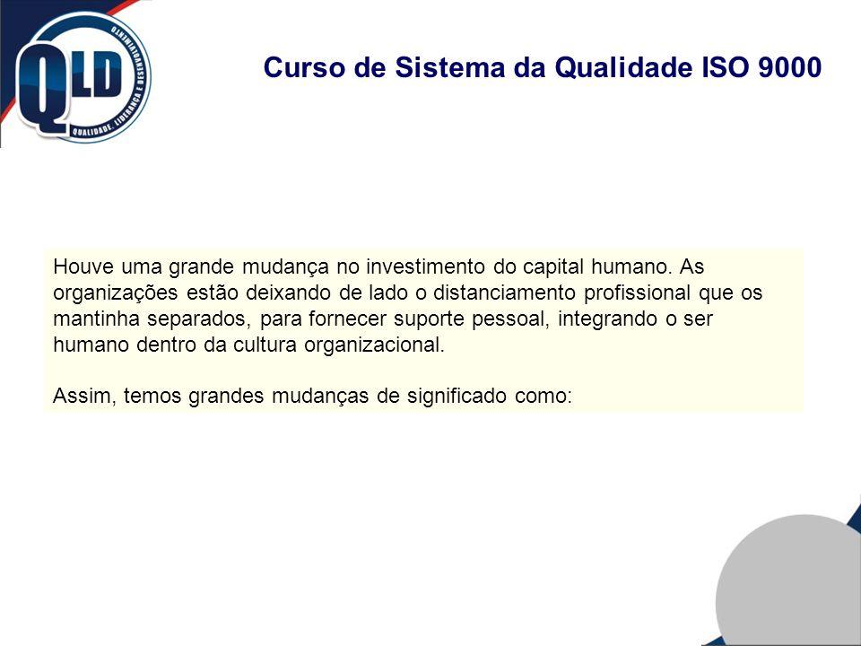 Curso de Sistema da Qualidade ISO 9000 Houve uma grande mudança no investimento do capital humano. As organizações estão deixando de lado o distanciam