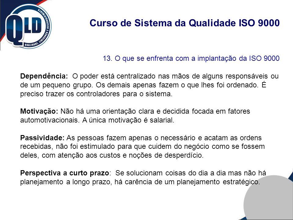 Curso de Sistema da Qualidade ISO 9000 13. O que se enfrenta com a implantação da ISO 9000 Dependência: O poder está centralizado nas mãos de alguns r