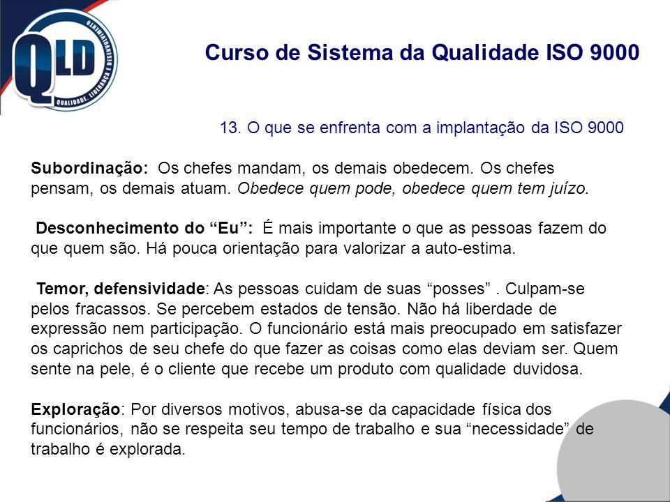 Curso de Sistema da Qualidade ISO 9000 13. O que se enfrenta com a implantação da ISO 9000 Subordinação: Os chefes mandam, os demais obedecem. Os chef