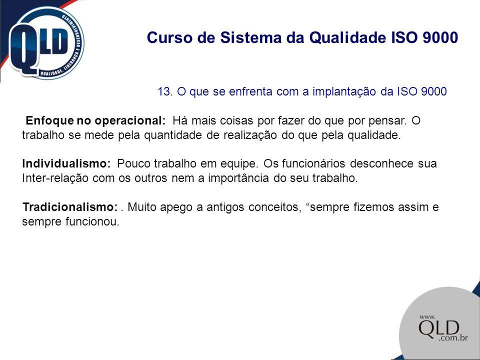Curso de Sistema da Qualidade ISO 9000 13. O que se enfrenta com a implantação da ISO 9000 Enfoque no operacional: Há mais coisas por fazer do que por