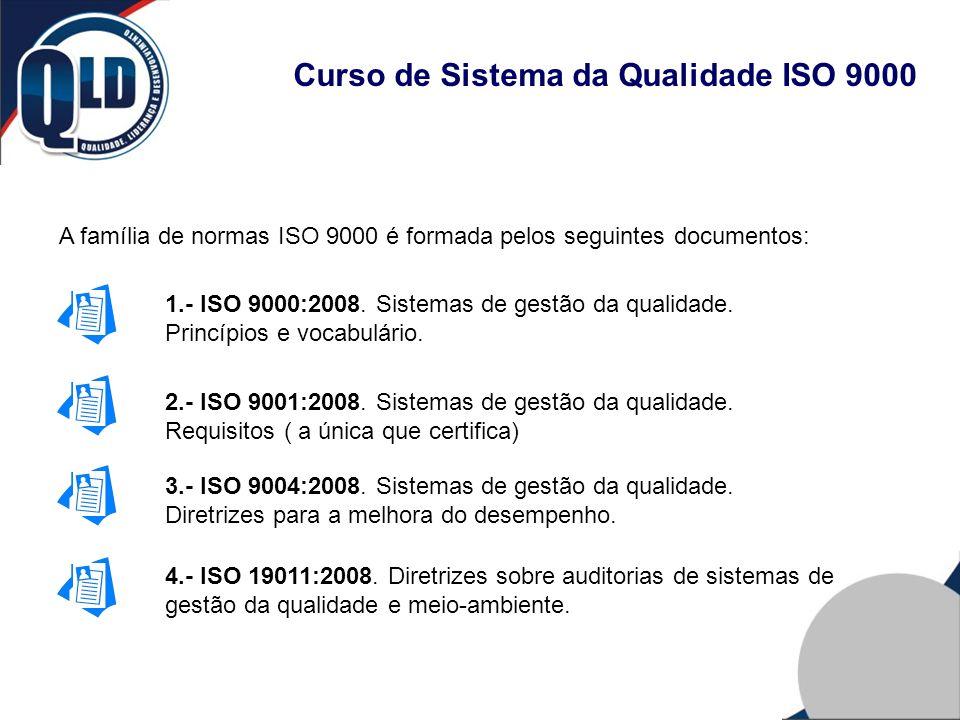 Curso de Sistema da Qualidade ISO 9000 A família de normas ISO 9000 é formada pelos seguintes documentos: 1.- ISO 9000:2008. Sistemas de gestão da qua