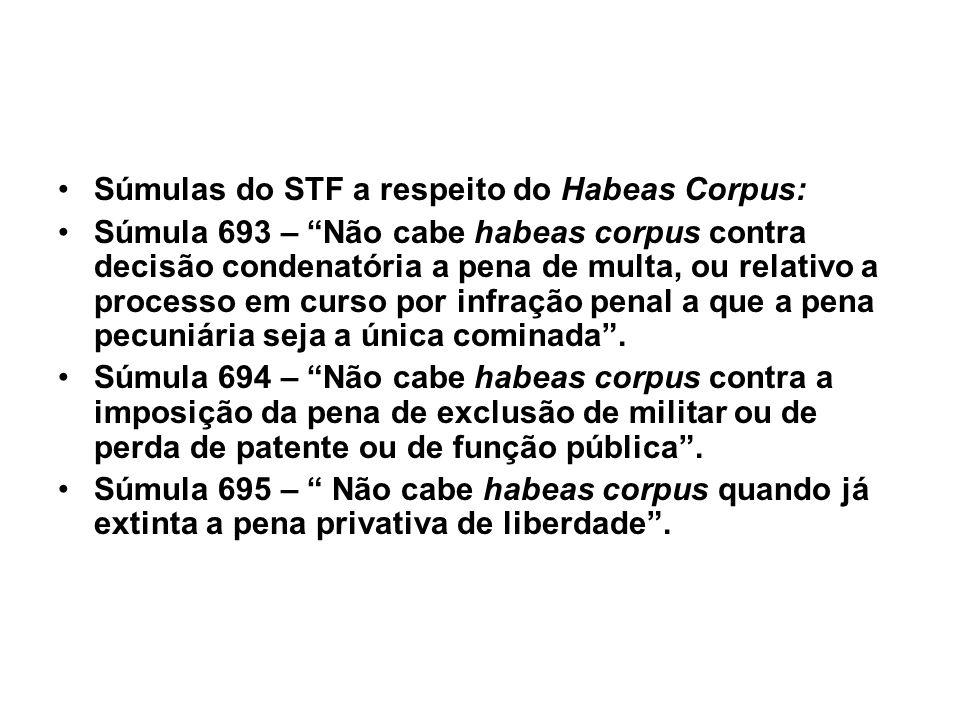 Súmulas do STF a respeito do Habeas Corpus: Súmula 693 – Não cabe habeas corpus contra decisão condenatória a pena de multa, ou relativo a processo em