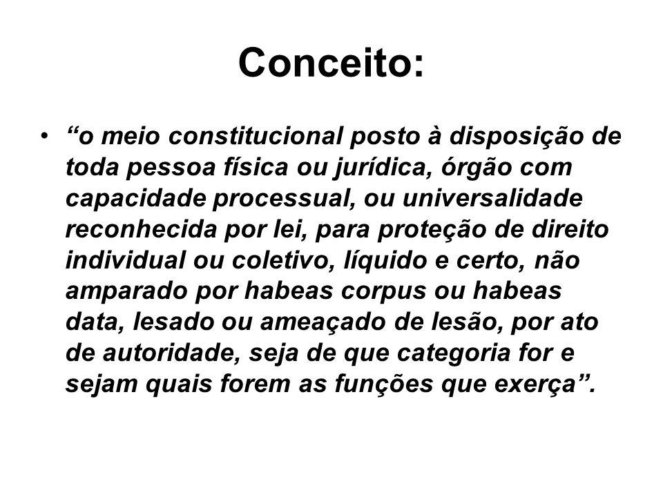 Conceito: o meio constitucional posto à disposição de toda pessoa física ou jurídica, órgão com capacidade processual, ou universalidade reconhecida p