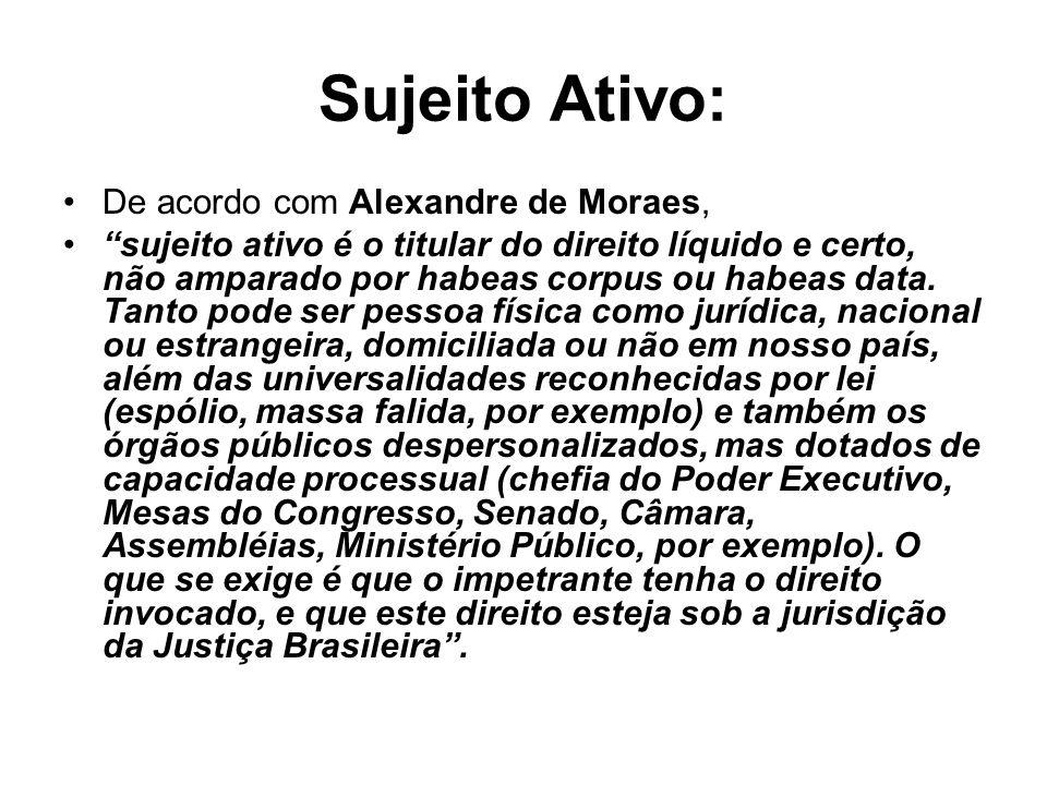 Sujeito Ativo: De acordo com Alexandre de Moraes, sujeito ativo é o titular do direito líquido e certo, não amparado por habeas corpus ou habeas data.